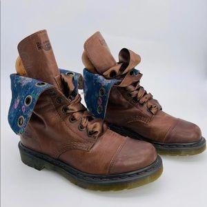 Dr Martens Combat Boots Floral Reverse Size 7